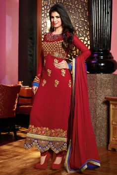 Breathtaking red emroidered straight suit- 35% #Discount #Eid #EidSpecial #StraightSuit #DressMaterial
