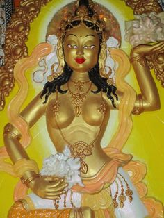 Traditional , full backed Offering Goddess from the Buddhist tradition, beautifully handprinted in yellows and golds. Buddhist Traditions, Buddhist Art, Wall Hangings, Statues, Sculpting, Sculptures, Aurora Sleeping Beauty, Princess Zelda, Traditional