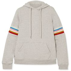 ALEXACHUNG Striped cotton-jersey hooded top (€235) ❤ liked on Polyvore featuring tops, sweaters, grey, colorful hoodies, stripe top, alexachung, multi color tops and relaxed fit tops