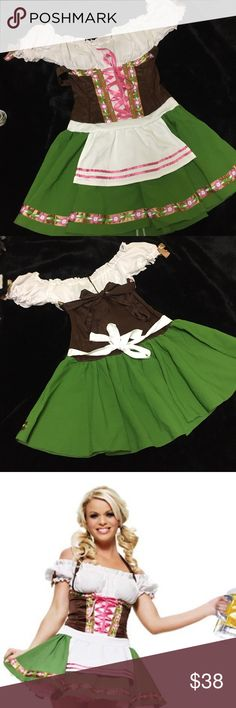 Beer maiden Oktoberfest costume A classic Halloween staple! Leg Avenue's German Oktoberfest Gretchen beer maid costume. Size M. Excellent condition. Brown tie can be tied behind you or halter style. See pic for halter styling. Item includes dress only *does not come with beer*. I don't even drink. (This is when you say we can't be PFFs then or you ask me to be your DD.) Leg Avenue Dresses Mini