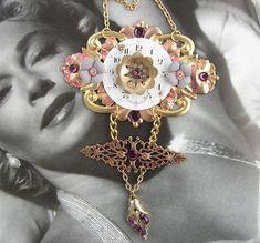 Purple Steampunk Necklace, watch face, purple rhinestones, brass filigree, steam punk pendant, steam punk jewelry, jewellery