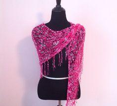 Dazzling Pink Shawl/Dazzling Pink Scarf/Pink by KnitTilDawn