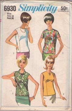 MOMSPatterns Vintage Sewing Patterns - Simplicity 6930 Vintage 60's Sewing Pattern DANDY Mod Era Housewife Sleeveless Unique Blouse Set, Back Buttons, Underam Panel