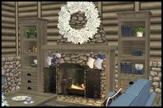2011 Winter Holiday Gift Clutter-a-holic Fireplace Winter Holidays, Christmas Holidays, Sims 2, Clutter, Holiday Gifts, Stairs, Cabin, Rustic, Building