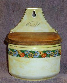 Vintage Antique Yellow Lusterware Hanging Salt Box Wooden Lid Czechoslovakia | eBay
