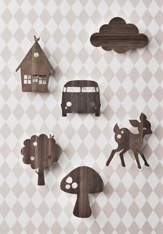 Ferm LIVING Cloud wall lamp in smoked oak wood. Little fluffly clouds, perfect to sit under and read your favourite book, play with your toys and give a soft glow to your childrens rooms.These popular, cute, fun wall lamps by Ferm LIVING are made from Cloud Lamp, Kids Lamps, House Lamp, Tree Lamp, Deco Nature, Wooden Animals, Wooden Lamp, Kid Spaces, Kids Decor
