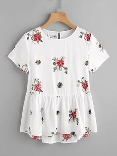 Shop Flower Embroidered Keyhole Back Smock Top online. SheIn offers Flower Embro… Shop Flower Embroidered Keyhole Back Smock Top online. SheIn offers Flower Embroidered Keyhole Back Smock Top & more to fit your fashionable needs. White Shorts Womens, Casual Outfits, Cute Outfits, White Women, Ladies White, Mode Style, Dress To Impress, Spring Outfits, Ideias Fashion