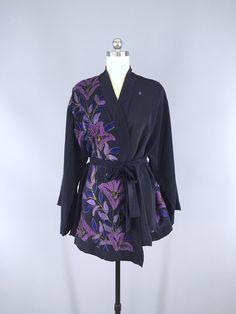Silk Kimono Cardigan / Vintage Indian Sari / Belted Jacket / Navy Blue & Purple Embroidery