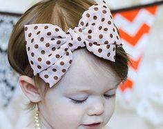 Bege e marrom cabelo chiffon arco Headband Bolinha flor do vintage do bebê cabeça