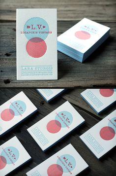 2 color letterpress business cards w/ edge print forLocapoxie Vintage printed on 236lb cotton paper.  by: Print