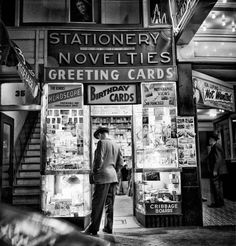 Novelties, San Francisco, Photo by Fred Lyon, 1949.  Little store next to the Powell Theater. Across the street from Woolworth's and right by the cable car turn table. Those stores were all over the downtown area back in the day.