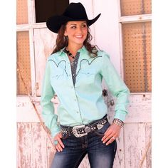 Cruel® Ladies' Nina Solid Plain Weave Shirt