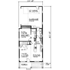 Craftsman Style House Plan - 3 Beds 2 Baths 1250 Sq/Ft Plan #319-125 Floor Plan - Main Floor Plan - Houseplans.com