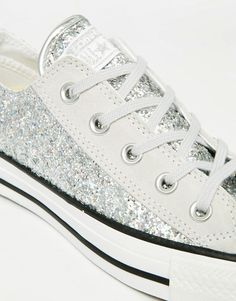 Image 4 of Converse All Star Chuck Taylor Sequin Ox Silver Plimsoll Trainers