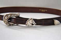 Barry Kieselstein Cord Sterling Silver Horse Shoe Brown Alligator Belt SZM 29-34 #BarryKieselsteinCord