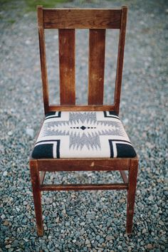 "Turn-of-the-century oak chair, built to last for generations.  An incredibly solid and evocative piece of American history.  Featuring a soft Pendleton wool seat with Navajo motif. 36.5"" tall, 16.5"" depth, width at front 17""    *one-of-a-kind and vintage pieces are non-returnable"