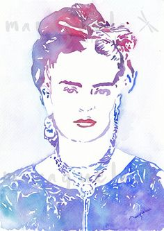 Original watercolor inspired by silhouette of Frida by Maraquela