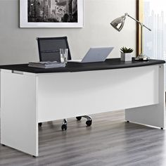 Wide desk for home or office according to need. Rectangular tabletop offers plenty usable surface. Modern and functional design. White Office Furniture, White Desk Office, Built In Furniture, Grey Desk, White Desks, Office Table, Executive Office Desk, Home Office Desks, Office Decor