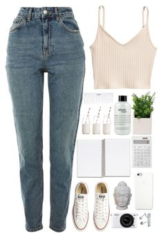 """""""Turned her tears to diamonds in her crown"""" by annaclaraalvez ❤ liked on Polyvore featuring Topshop, H&M, Converse, Muji, philosophy, Black Apple, Puji, Nikon, Dress My Cupcake and Conair"""
