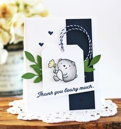 Thank you card by Laurie Schmidlin for Paper Smooches - Courteous Cuties 2 stamp set, Courteous Cuties set, For You Tag die set, Foliage 3 Die set