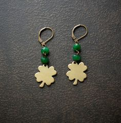 Brass Clover St Patricks Earrings with Emerald Green by BevaStyles