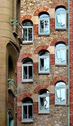 Paris. Windows designed by the architect considered to be the father of Art Nouveau.
