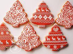 Rojo y blanco galletas de Navidad - Set de 6 naranja vainilla Spice Cookies para ser enviado el 16 de diciembre