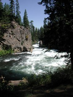 Benham Falls, Deschutes County near Bend, Oregon. This is a long series of high-volume rapids, probably dropping no more than 100 feet over a run of about 1/4 mile. Photo Provided By Sunset Realty Vacation in Sunriver Oregon.