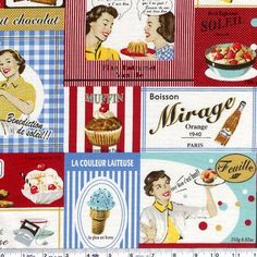 french fifties kitchen fabric