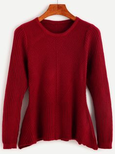 Shop Burgundy Ribbed Peplum Sweater online. SheIn offers Burgundy Ribbed Peplum Sweater & more to fit your fashionable needs.