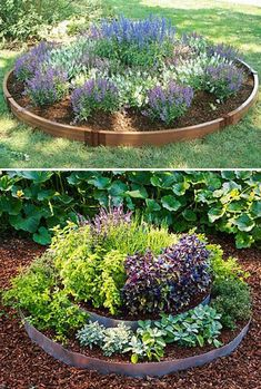 Round raised garden bed by frame it all.
