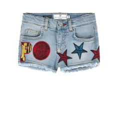 Cotton denim Short cut Straight leg fit Five pockets Frayed trims Adjustable waistband with an elastic strap Button on the waist Zip fly Fancy patches Fancy rhinestones Logo plate   Logo rivet - $ 422