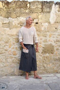 Männer schwarze Oliven reines Leinen Pareo mit Tasche. Einzigartige Baumwoll-Spitzen-Detail.