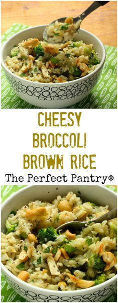 Cheesy broccoli brown rice, a family-friendly side dish or even a main course. #vegetarian #glutenfree