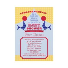 Shop Circus Baby Shower Invitation created by marlenedesigner. Free Baby Shower Invitations, Baby Shower Invitation Wording, Baby Shower Invites For Girl, Lion Baby Shower, Baby Shower Cards, Carnival Baby Showers, Superhero Baby Shower, Circus Baby, Invitation Examples