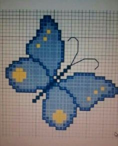 Butterfly Cross Stitch, Crochet Butterfly, Beaded Embroidery, Hand Embroidery, Cross Stitch Animals, Barn Quilts, Cross Stitching, Smurfs, Cross Stitch Patterns