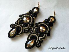 Soutache black&gold long elegant earrings