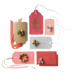 pinecone embellished gift tags