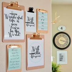Clipboard wall decor for home office space