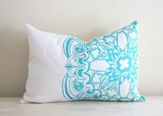 Lauren Alison Designs- Turquoise Moroccan Linen Pillow Cover Decorative Cushion Throw Lumbar 12x16 Screen Print Hand-Printed Modern Global Gift. $47.00, via Etsy.