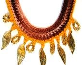 Crocheted Beaded Necklace - Golden Leaves Fall Fashion https://www.etsy.com/listing/61504245/crocheted-beaded-necklace-golden-leaves?ref=tre-2723271620-16