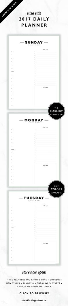 2017 Printable Day to a Page Planner // The Harlow Collection by Eliza Ellis. Gorgeous vintage typography design. Includes appointments times, notes section and to do list. Bonus matching planner covers and annual calendar included. Available in 5 colors – cigar, perfume, moonshine, roadster and sterling. Monday and Sunday week starts included. Documents print to A4 or A5.