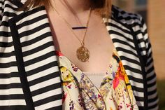 Our stunning Gold Three Letter Monogram Personalized Necklace as worn by http://pennilesssocialite.blogspot.co.il/2014/03/look-what-i-got-anjolee-to-rescue.html