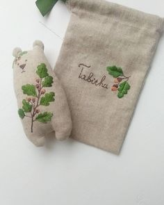 And one more photo. Just show you embroidery on the linen bag. Embroidery Leaf, Cross Stitch Embroidery, Embroidery Patterns, Embroidery Fashion, Embroidery Dress, Handmade Baby, Handmade Toys, Sewing Crafts, Sewing Projects