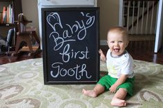 Idea for baby's first tooth. Chalkboard print for sale on Etsy. Link to Etsy Shop is in the post.