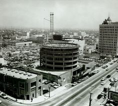 Construction of the Capitol Records building in Los Angeles, California 1955