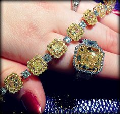 David Rovinsky white and yellow diamond bracelet and ring. Via Diamonds in the Library.