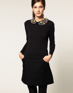 Browse online for the newest ASOS Sweater With Embellished Collar styles. Shop easier with ASOS' multiple payments and return options (Ts&Cs apply). Pretty Outfits, Pretty Clothes, Work Outfits, Jumper, Asos, Peter Pan, Autumn Winter Fashion, Winter Style, Diy Dress
