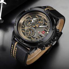 Men's Watches Top Brand Luxury Waterproof 24 hour Date Quartz Watch Man Leather Sport Wrist Watch Men Waterproof Clock Rugged Style, Style Men, Patek Philippe, Mens Watches Leather, Leather Men, Sport Watches, Cool Watches, Casual Watches, Datejust Rolex