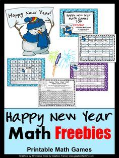 FREEBIES - Fun Games 4 Learning: Happy New Year Fun Math! Math to start the New Year! Printable math games!